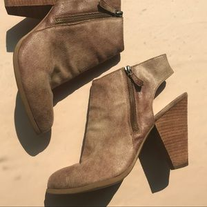 Shoes - Cutout Booties with Zippers Sz 11 Brown/Tan